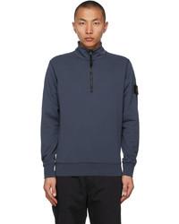 Stone Island Blue Half Zip Sweater