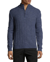 Neiman Marcus Cable Knit Quarter Zip Sweater Moonlight
