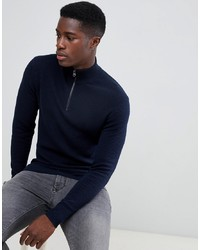 Esprit Cashmere Blend Half Zip Jumper In Navy