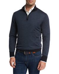 Collection merino silk cashmere birdseye quarter zip sweater medium 925741