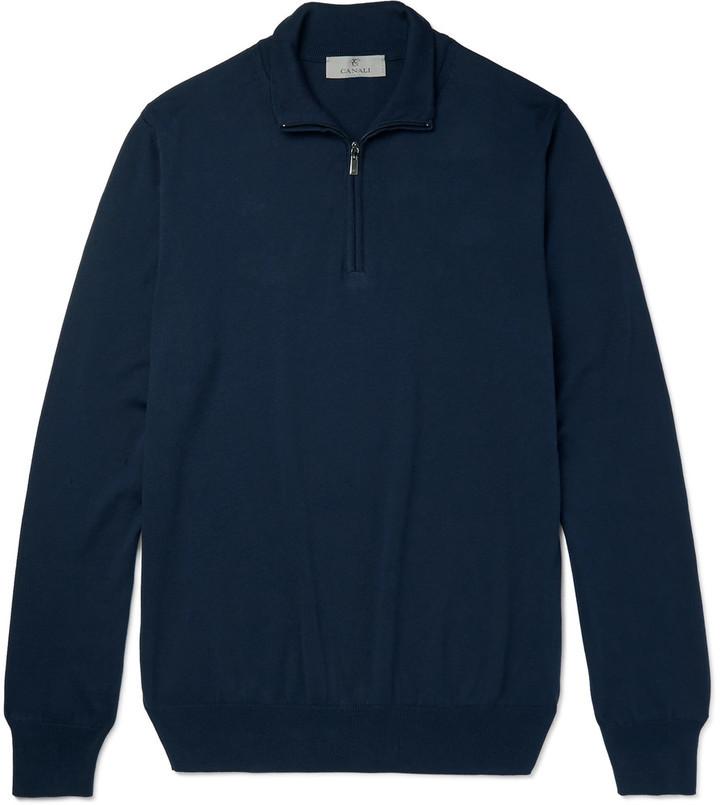 ... Canali Cotton Half Zip Sweater ...