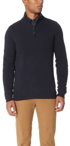 0d78f35735e $109, Ben Sherman Half Zip Funnel Neck Sweater