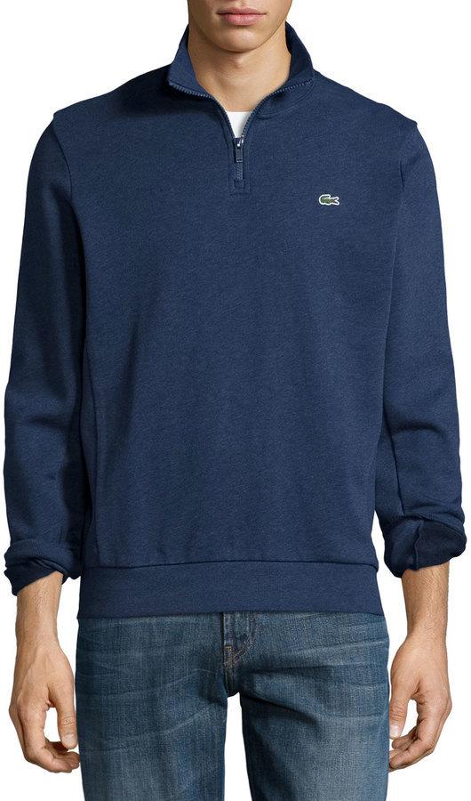 7e15e841b Lacoste Half Zip Melange Knit Sweatshirt Navy, $115 | Neiman Marcus ...