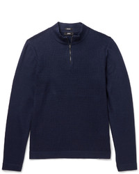 Hugo Boss Henderson Cotton And Virgin Wool Blend Half Zip Sweater