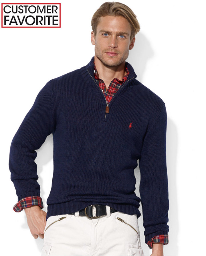 ... Polo Ralph Lauren High Twist Cotton Half Zip Mockneck Sweater