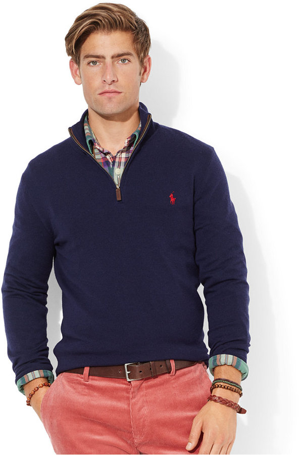 Men's Fashion › Sweaters › Zip Neck Sweaters › Navy Zip Neck Sweaters Polo  Ralph Lauren Merino Wool Half Zip Sweater ...