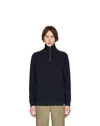 Norse Projects Navy Alfred Half Zip Pullover