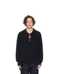JW Anderson Navy And Black Neckband Striped Sweater