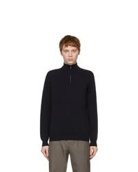 Loro Piana Navy Cashmere Half Zip Sweater