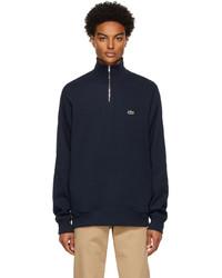 Lacoste Navy Cotton Quarter Zip Sweatshirt