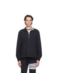 Thom Browne Navy Intarsia 4 Bar Sweatshirt