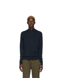 Sunspel Navy Merino Wool Half Zip Sweater