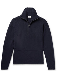 Acne Studios Neptune Ribbed Wool Blend Half Zip Sweater