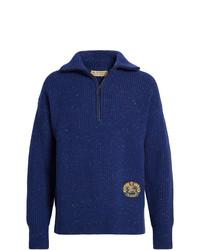 Burberry Rib Knit Wool Cashmere Blend Half Zip Sweater