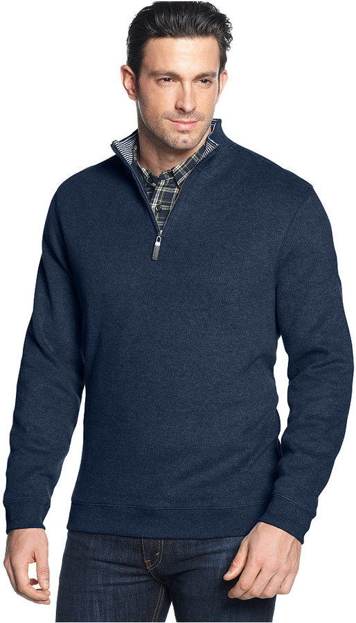 Tasso Elba Sweater Quarter Zip Mock Neck French Ribbed Pullover ...