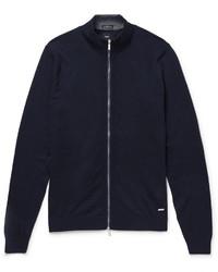 Hugo Boss Cotton And Wool Blend Zip Up Cardigan