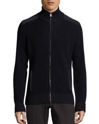 Pal Zileri Merino Wool Zip Front Sweater