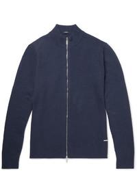 Hugo Boss Montez Ribbed Cotton Blend Zip Up Cardigan