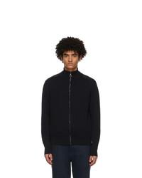 Salvatore Ferragamo Navy And Black Wool Half Zip Sweater