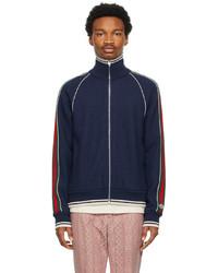 Gucci Navy Cashmere Zip Up Jacket
