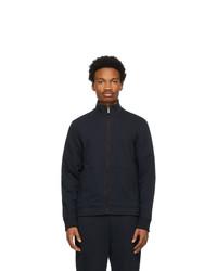 Ermenegildo Zegna Navy Cotton Zip Up Sweater