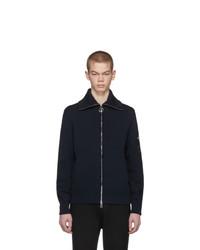 Neil Barrett Navy Magliera Techno Yarn Zip Sweater