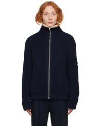 Gucci Navy Rib Knit Wool Zip Up Jacket