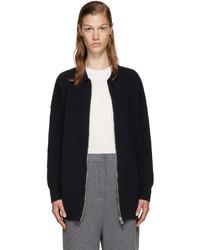 Stella McCartney Navy Wool Zip Up Cardigan
