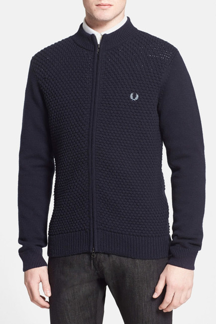 ... Fred Perry Pique Knit Wool Zip Cardigan