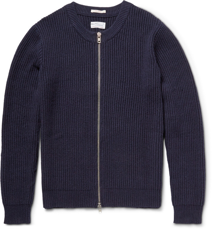 Gant Rugger The Zipper Ribbed Cotton Blend Cardigan | Where to buy ...