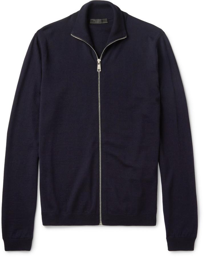 8a1889991df7 ... Prada Virgin Wool Zip Up Sweater ...
