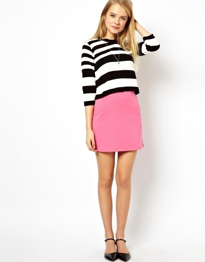 asos a line mini skirt in ponte pink