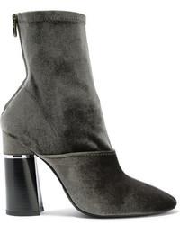 3.1 Phillip Lim Kyoto Stretch Velvet Sock Boots Sage Green
