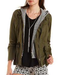 Charlotte Russe Hooded Layered Anorak Jacket