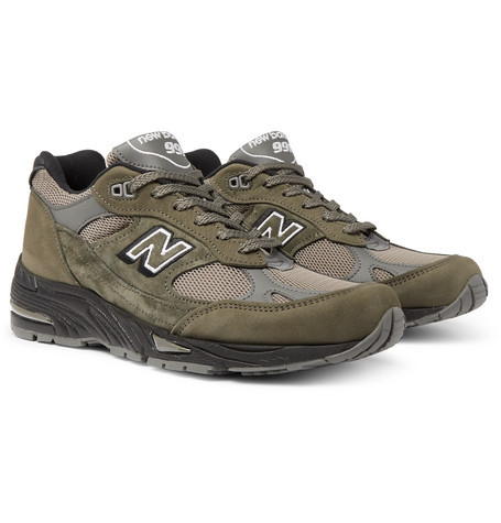 New Balance 991 Suede Mesh And Leather Sneakers, $140 | MR PORTER ...