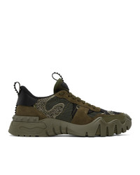 Valentino Green And Black Garavani Rockrunner Plus Sneakers