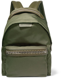 Stella McCartney The Falabella Faux Leather Trimmed Shell Backpack Army Green