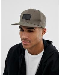 ASOS DESIGN Snapback Cap In Khaki With Rubber Badge Detail