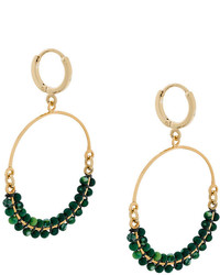 Isabel Marant Beaded Drop Hoop Earrings