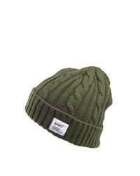 Addict Hats Cadet Cable Knit Beanie Hat Olive