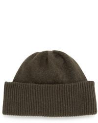 Portolano Cashmere Cuffed Beanie Hat Green Agerie