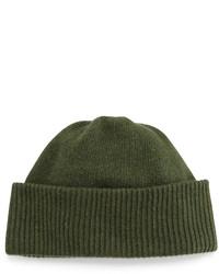 Portolano Cashmere Cuffed Beanie Hat Olive