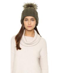 Inverni Cashmere Ribbed Pom Beanie Hat