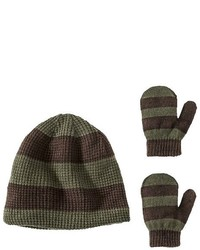 Granule Toddler Boys Marled Knit Beanie And Mittens Set Green Olive