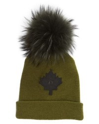 Maple leaf toque hat with removable genuine fox medium 8719857
