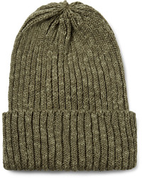 Beams Plus Ribbed Linen And Cotton Blend Beanie