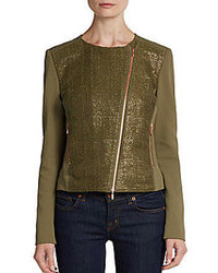 Escada Sport Mixed Media Asymmetrical Zip Jacket