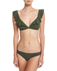 MICHAEL Michael Kors Michl Michl Kors Side Shirred Bikini Bottom Green