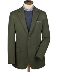 Green Cotton Drill Classic Fit Jacket