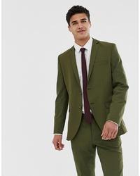 Jack & Jones Premium Stretch Slim Suit Jacket In Khaki